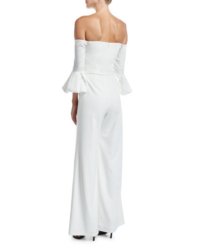 Griffith Off-the-Shoulder Puff-Sleeve Wide-Leg Jumpsuit