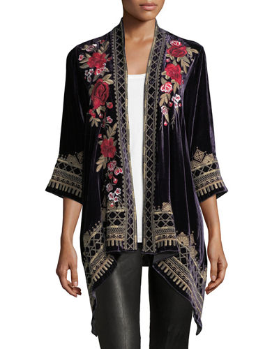 Meri Floral-Embroidered Velvet Cardigan, Plus Size