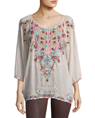 Dolora Embroidered Georgette Blouse, Plus Size