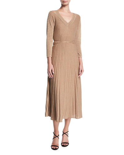 Open-Shoulder Shimmer Pleated Midi Dress