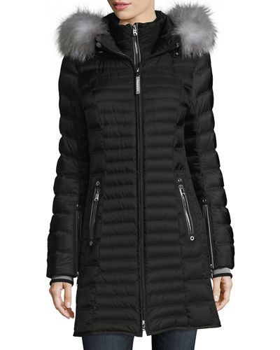 Cheryl Zip-Front Quilted Puffer Coat w/ Fox Fur