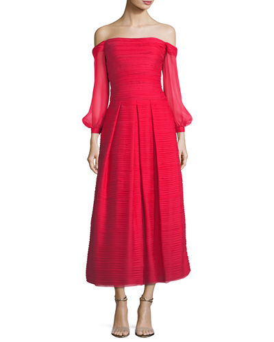 Marchesa Notte Off-the-Shoulder Crinkled Chiffon Tea-Length