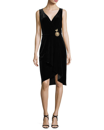 Kailey Surplice Sleeveless Velvet Cocktail Dress w/ Embellishment