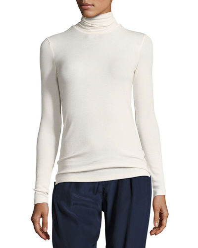 Modal Rib-Knit Long-Sleeve Turtleneck Top