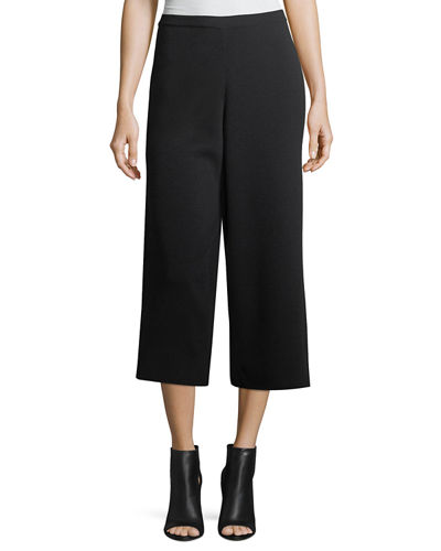 Washable Wool Crepe Cropped Pants, Petite
