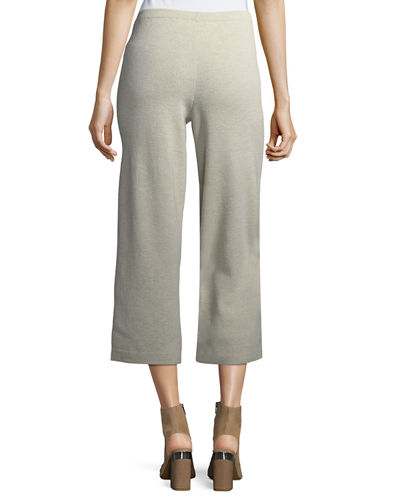 Washable Wool Crepe Cropped Pants, Plus Size