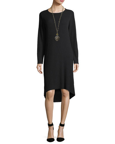 Ribbed Washable Wool Crepe Ribbed Sweaterdress