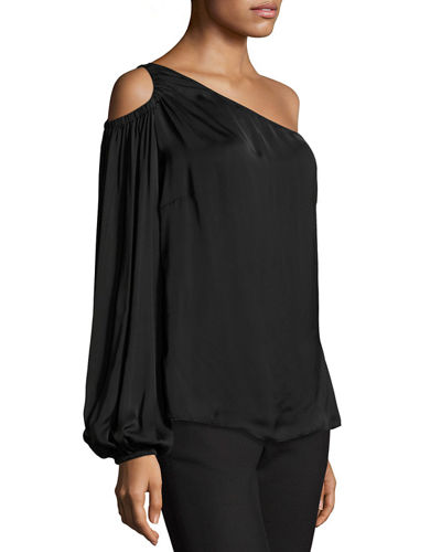 Denissa Asymmetric-Neck One-Sleeve Satin Blouse