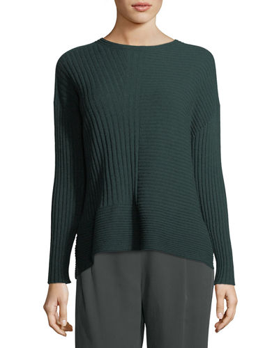 Seamless Ribbed Italian Cashmere Sweater, Petite