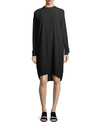 Long-Sleeve Mock-Neck Silk Georgette Crepe Shift Dress