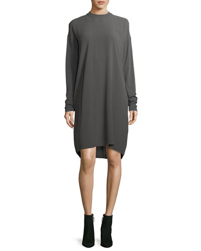 Eileen Fisher Long-Sleeve Mock-Neck Silk Georgette Crepe Shift
