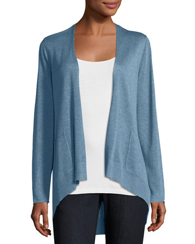 Long Slouchy Sleek Knit Cardigan, Plus Size
