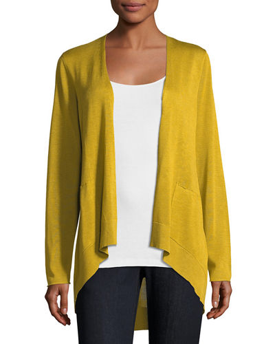 Long Slouchy Sleek Knit Cardigan, Petite