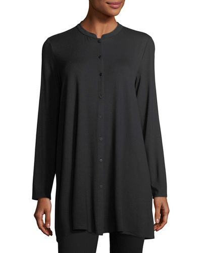 Lightweight Viscose Jersey Boxy Button-Front Top