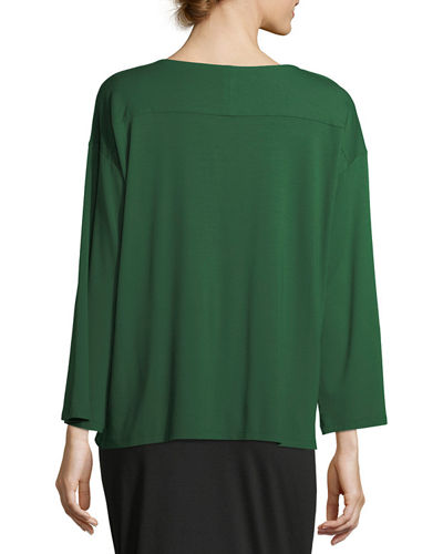 Bateau-Neck Lightweight Jersey Box Top