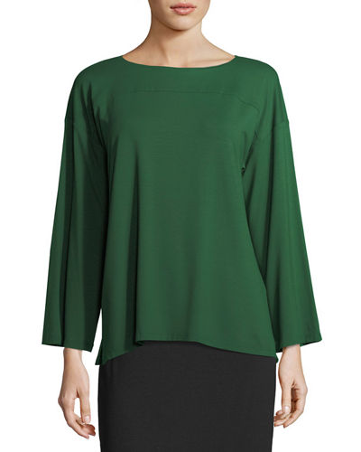 Eileen Fisher Bateau-Neck Lightweight Jersey Box Top