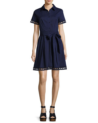 Bertha Belted Eyelet Shirtdress