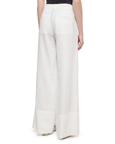 Cotton-Linen Wide-Leg Pants