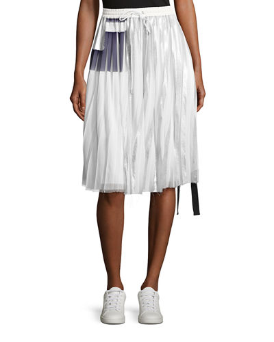 Blaise Pleated Metallic Drawstring Skirt
