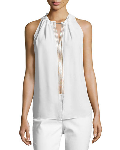 Bessie Lace-Trim Silk Blouse w/ Chain