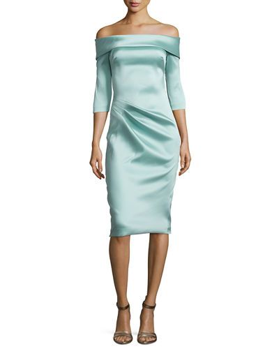 Stretch Satin Off-the-Shoulder Cocktail Dress