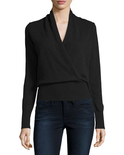 Cashmere Faux-Wrap Sweater, Plus Size