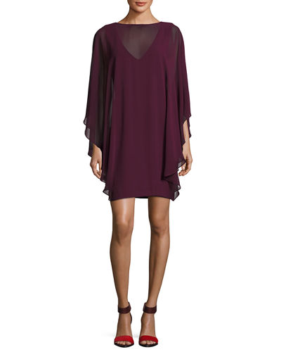 Halston Heritage Chiffon-Overlay Shift Dress