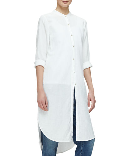 Mandarin-Collar Calf-Length Shirt