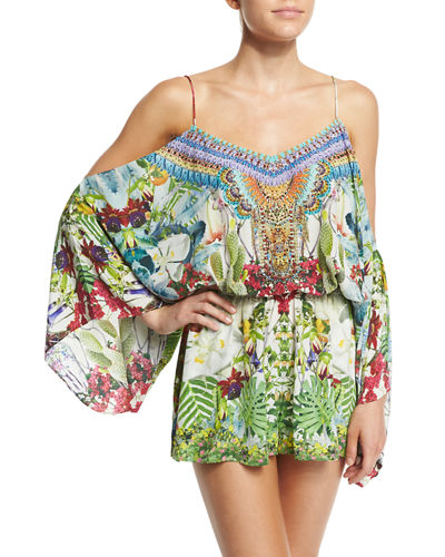Embellished Cold-Shoulder Romper
