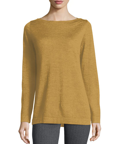 Eileen Fisher Boat-Neck Merino Wool Jersey Top, Petite