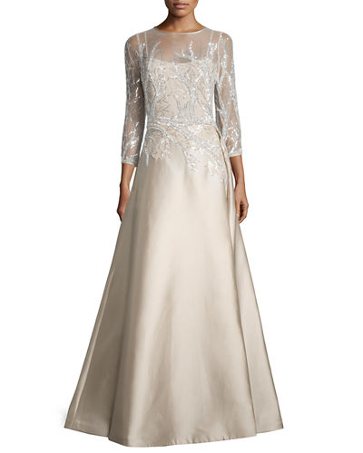 3/4-Sleeve Embellished Ball Gown