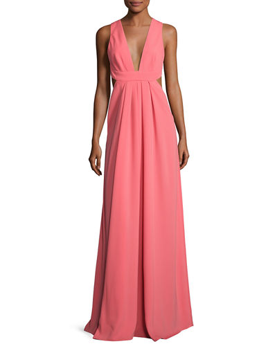 Sleeveless Crisscross-Back Pleated Gown