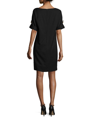 Short-Sleeve Stretch Jersey Cocktail Dress, Black