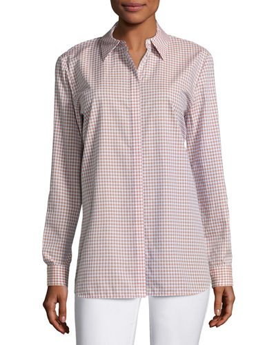 Brody Cabana Check Button-Front Blouse
