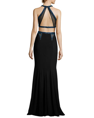 Beaded Two-Piece Stretch Jersey Gown