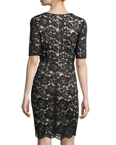Lace Scalloped Sheath Dress