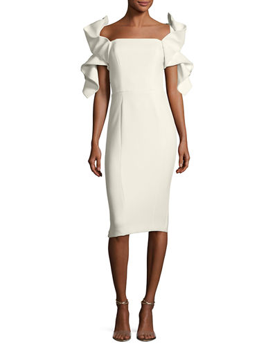 Origami-Sleeve Straight-Neck Crepe Cocktail Dress