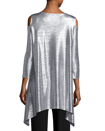 Reflection-Knit Cold-Shoulder Tunic