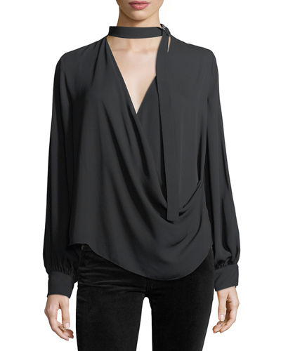 Alexis Lina Long-Sleeve Crossover Silk Blouse