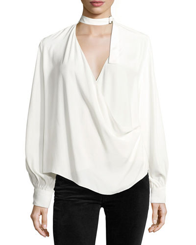 Lina Long-Sleeve Crossover Silk Blouse