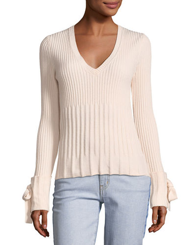 V-Neck Long-Sleeve Sweater w/ Tie Detail
