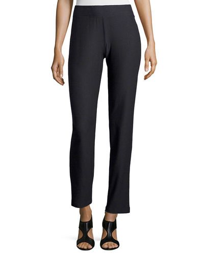 Washable-Crepe Straight-Leg Pants, Plus Size