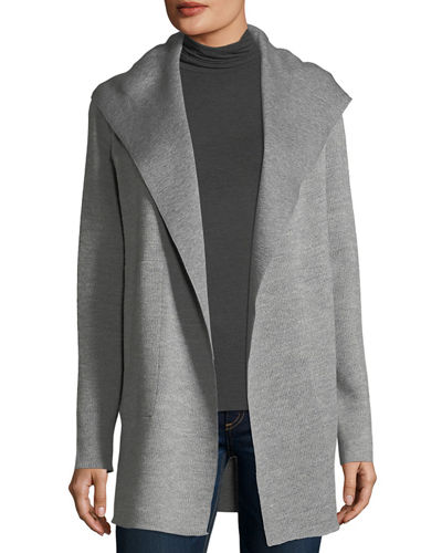 Double-Faced Wool/Cotton Hooded Cardigan