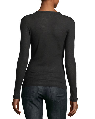 Long-Sleeve Cashmere/Cotton V-Neck Top