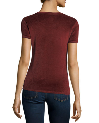 Short-Sleeve Velour Crew-Neck Top