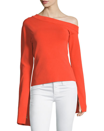 Mariette One-Shoulder Bell-Sleeve Ponte Top