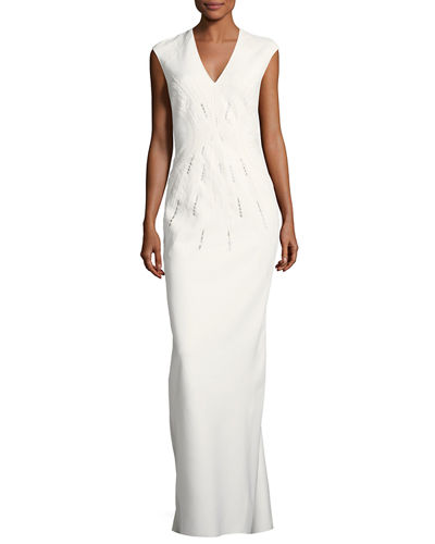 V-Neck Sleeveless Classic Embroidered Evening Gown