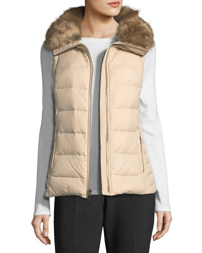 faux-fur packable puffer vest with bow-detail