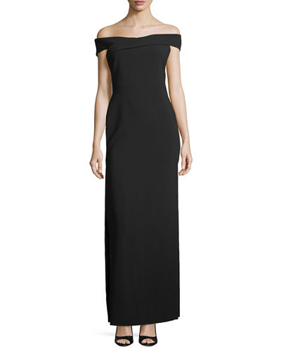 Darrah Off-the-Shoulder Column Gown