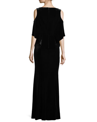 Aven V-Neck Cold-Shoulder Velvet Evening Gown